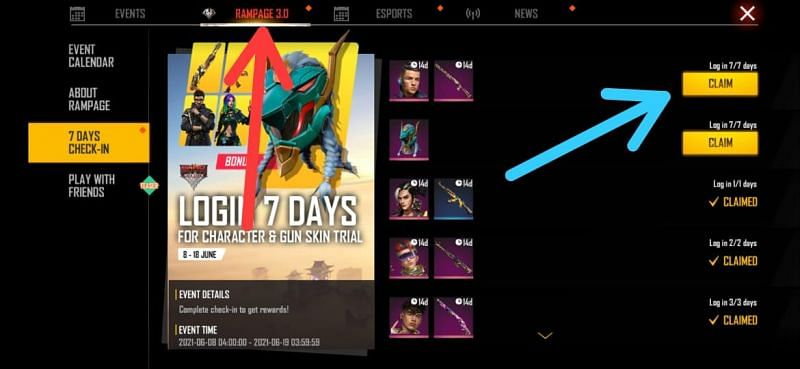 Go to 'Rampage 3.0' and claim the character