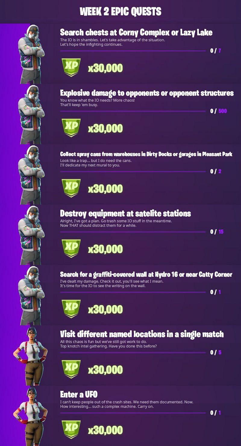 Fortnite Season 7 Week 2 Epic challenges (Image via iFireMonkey/Twitter)
