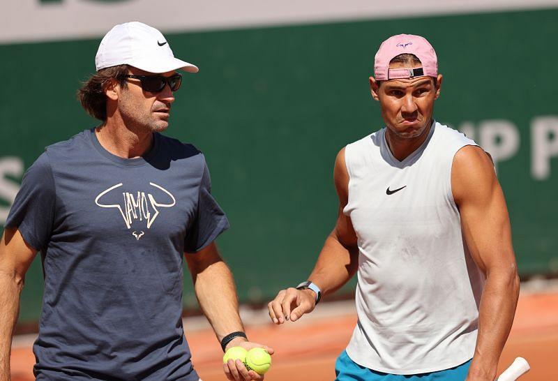 Carlos Moya with Rafael Nadal at Roland Garros