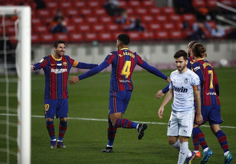 Messi celebrates after equaling Pele