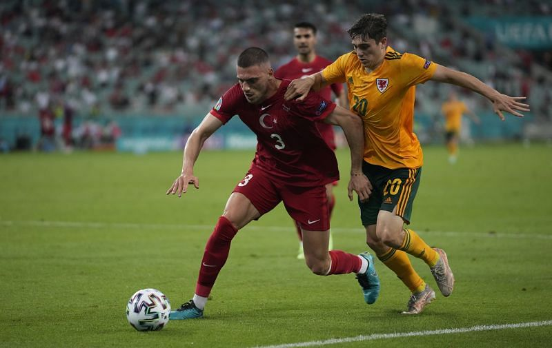 Demiral (left) in action for Turkey at Euro 2020