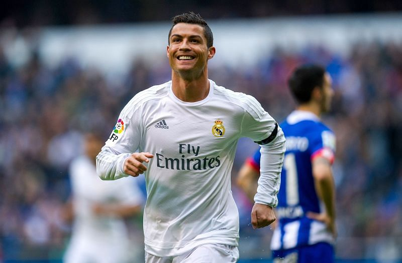 Cristiano Ronaldo celebrates a goal during his time with Real Madrid/