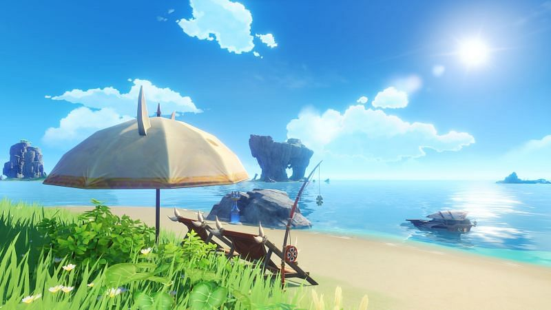 """Players are looking for strange murals in """"The Other Side of Isle and Sea."""" (image via miHoYo)"""