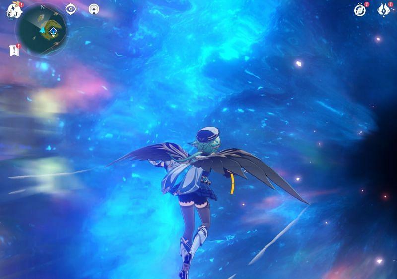 Going through a portal to reach Musk Reef in Genshin Impact (Image via Sportskeeda)