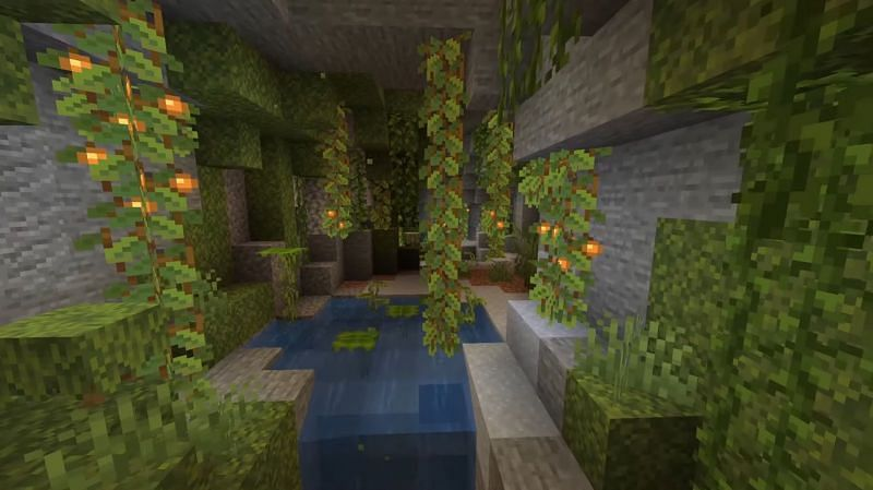 Lush caves biome (Image via Minecraft on youtube)
