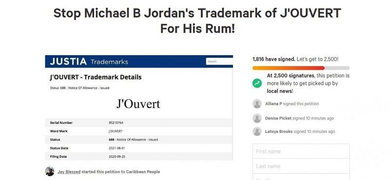 Petition against Michael B. Jordan's trademark on his brand