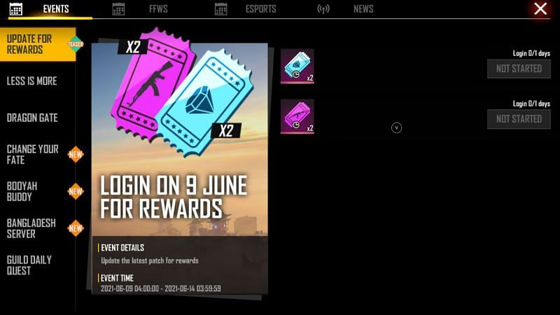Rewards that the users will be receiving for updating the game