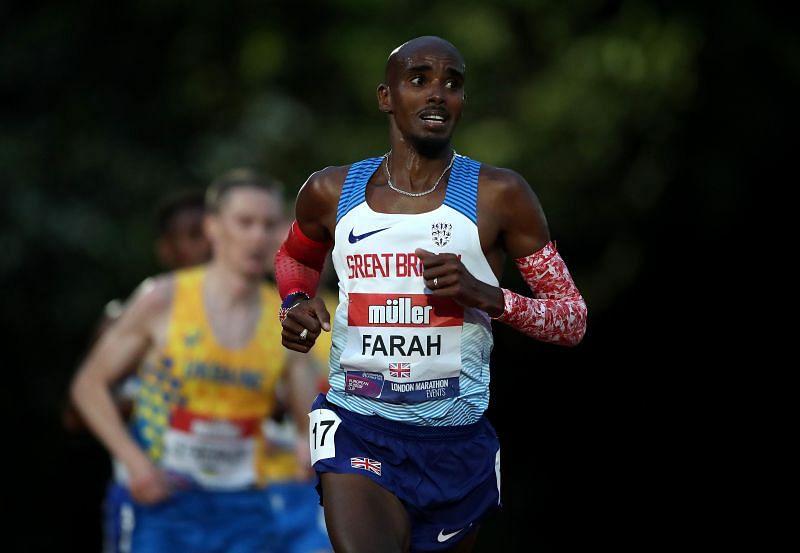 Mo Farah at the British Athletics 10,000m Championships