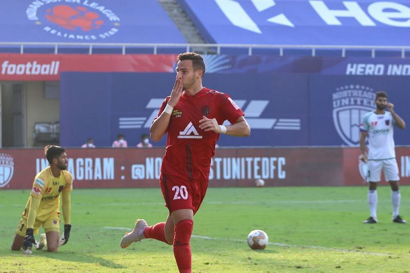 NorthEast United FC player Luis Machado celebrates after scoring for the Highlanders in the last season of ISL