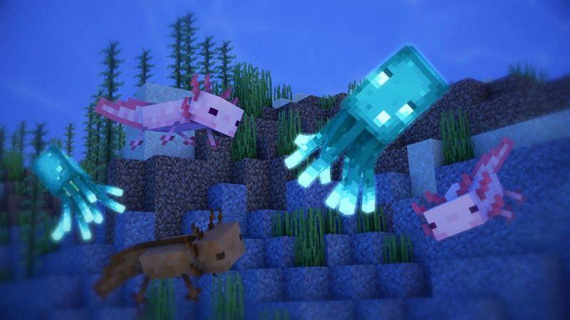 Glow squids and axolotls (Image via DeviantArt)
