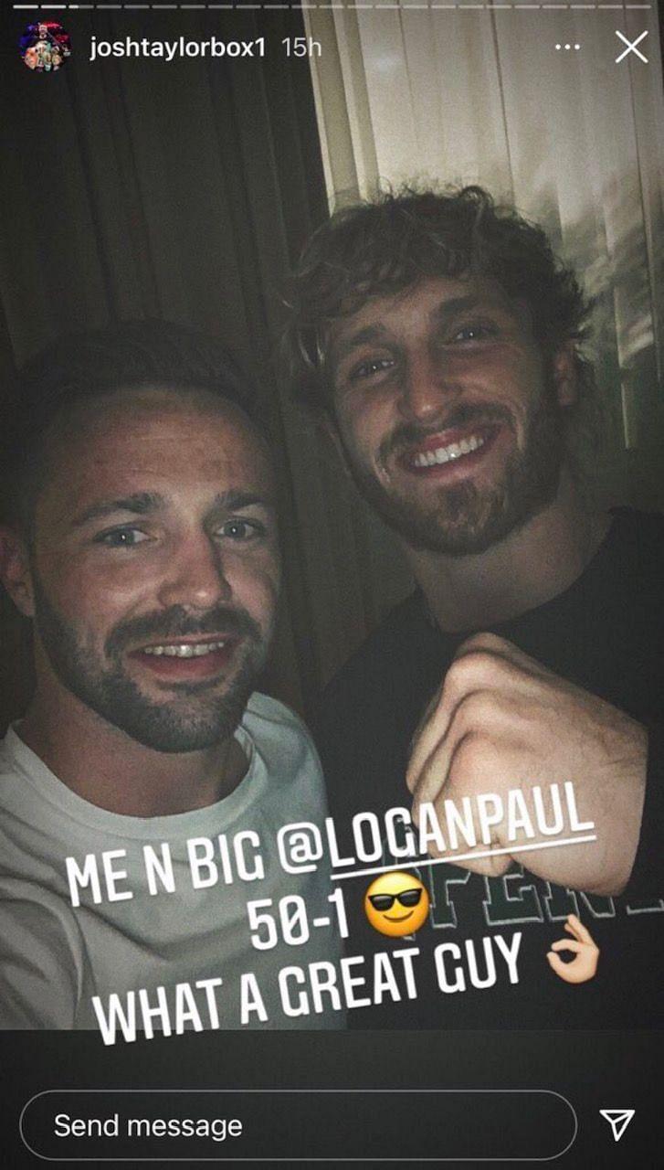 Josh Taylor se reúne con Logan Paul en persona dos semanas después de que se hicieran comentarios negativos sobre él (Imagen vía Twitter)