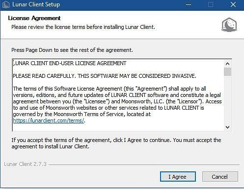 Er moet een Lunar Client-licentieovereenkomst worden overeengekomen om door te gaan