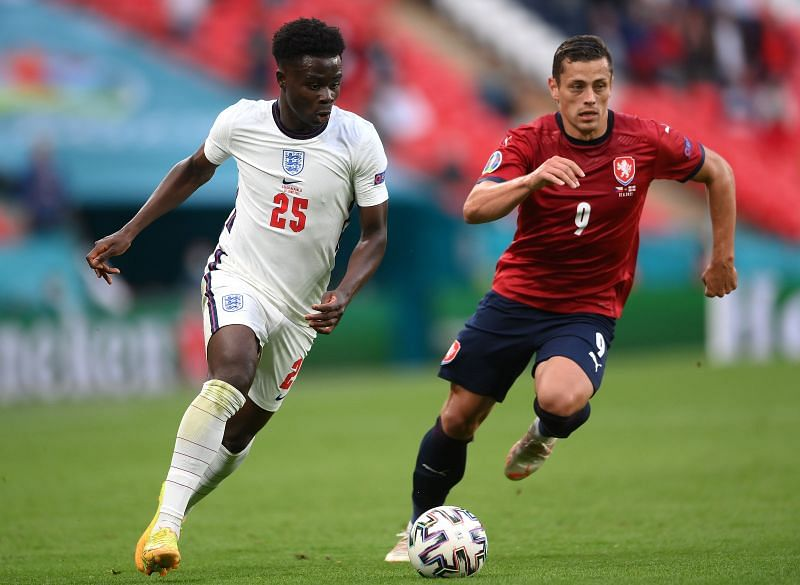 Saka shone on the right wing for England and troubled the Czech defence with his pace and trickery