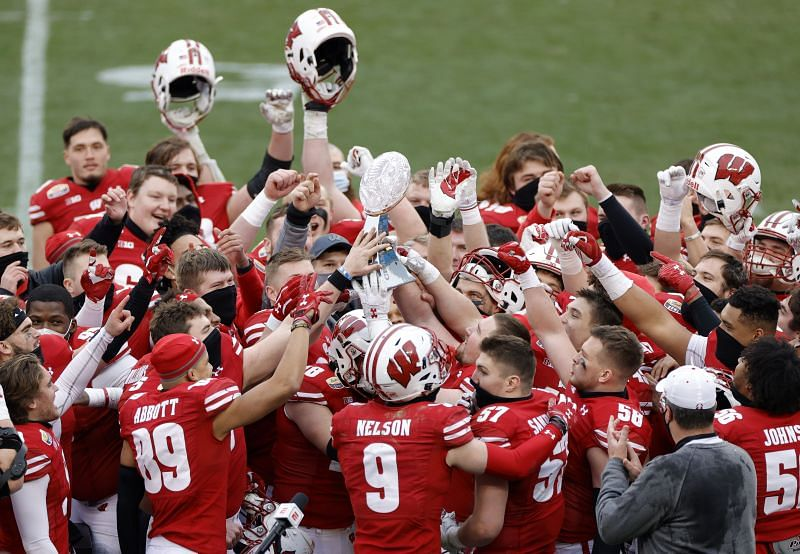 Wisconsin Badgers celebrate a huge win over Wake Forest