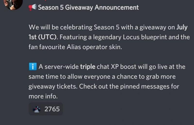 Season 5 giveaway announcement (Image via COD Mobile - Discord)