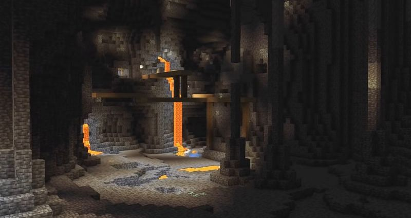 An early shot of one of the massive caves that will be found in part two (Image via Mojang)