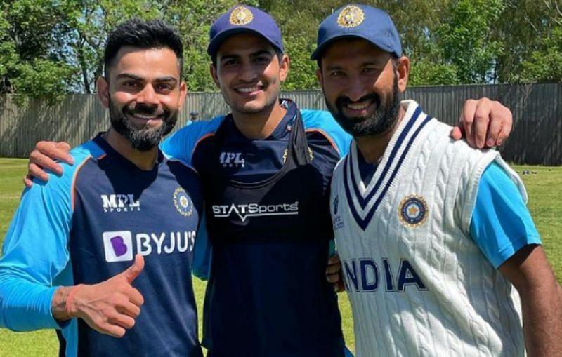Virat Kohli, Shubman Gill and Cheteshwar Pujara( from left to right). Pic: Virat Kohli/ Instagram