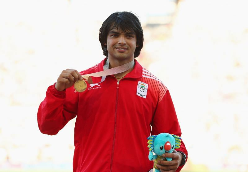 Neeraj Chopra with his gold medal at the 2018 Commonwealth Games