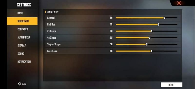 The best sensitivity for one-tap headshots and quicker reflexes in Free Fire
