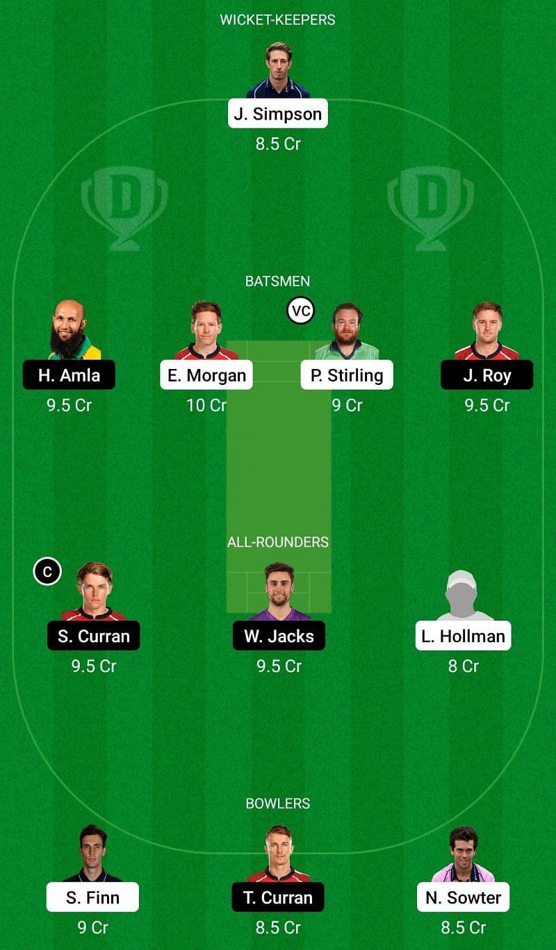 Dream11 Team for Middlesex vs Surrey - Vitality T20 Blast 2021.