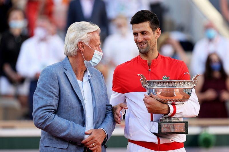 Bjorn Borg (L) and Novak Djokovic at Roland Garros 2021