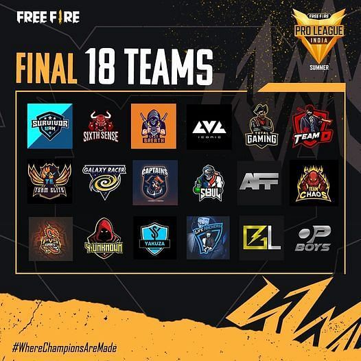 Free Fire Pro League 2021 Summer Teams
