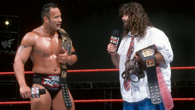 The Rock and Mick Foley