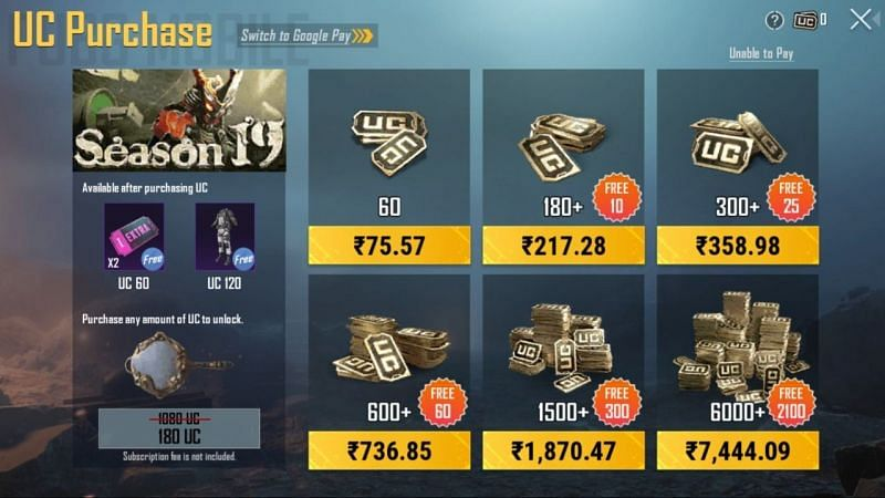 Prices of UC in PUBG Mobile