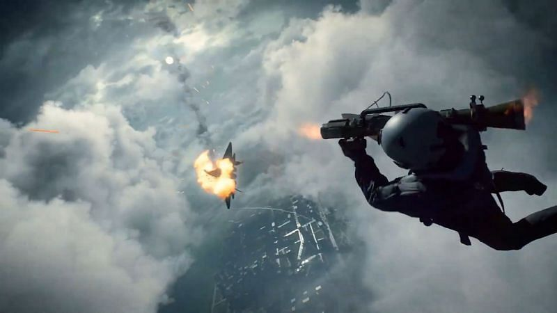 Jet pilot jumps off mid-flight from his aircraft to use rocket launcher on enemy jet (Image via Battlefield)