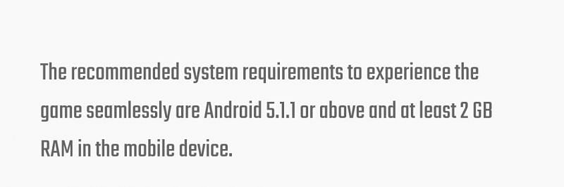 System requirements for Battlegrounds Mobile India (Image via Battlegrounds Mobile India)