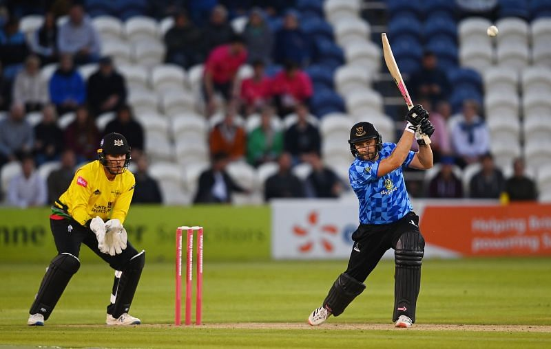 Luke Wright of Sussex plays a shot during his side's T20 Blast match against Gloucestershire