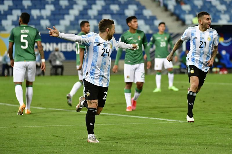 Alejandro Gomez (left) celebrates after scoring Argentina