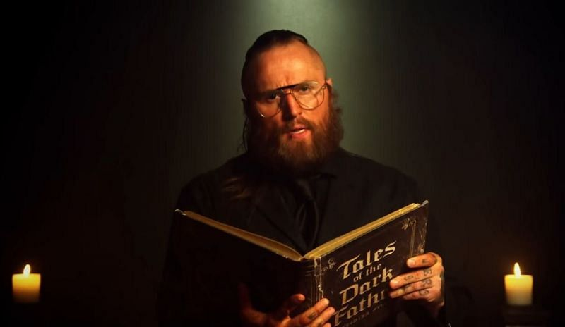 """Aleister Black during his """"dark father"""" promo"""