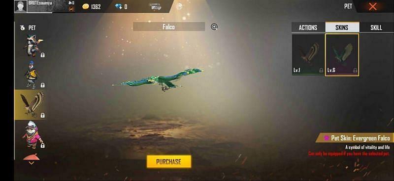 Free Fire के अंदर Falco