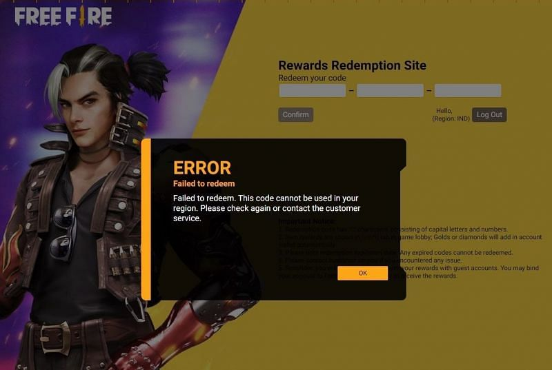 Players cannot use a Free Fire redeem code meant for users on another server