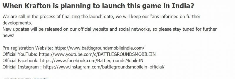 The support section of Battlegrounds Mobile India