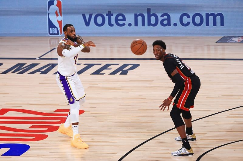 James makes a pass in the 2020 NBA Finals.