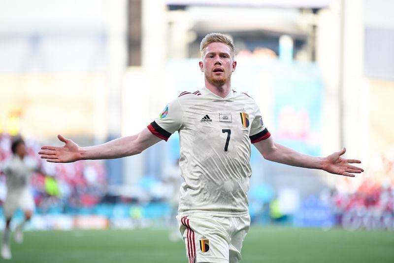 Kevin de Bruyne celebrates after scoring Belgium