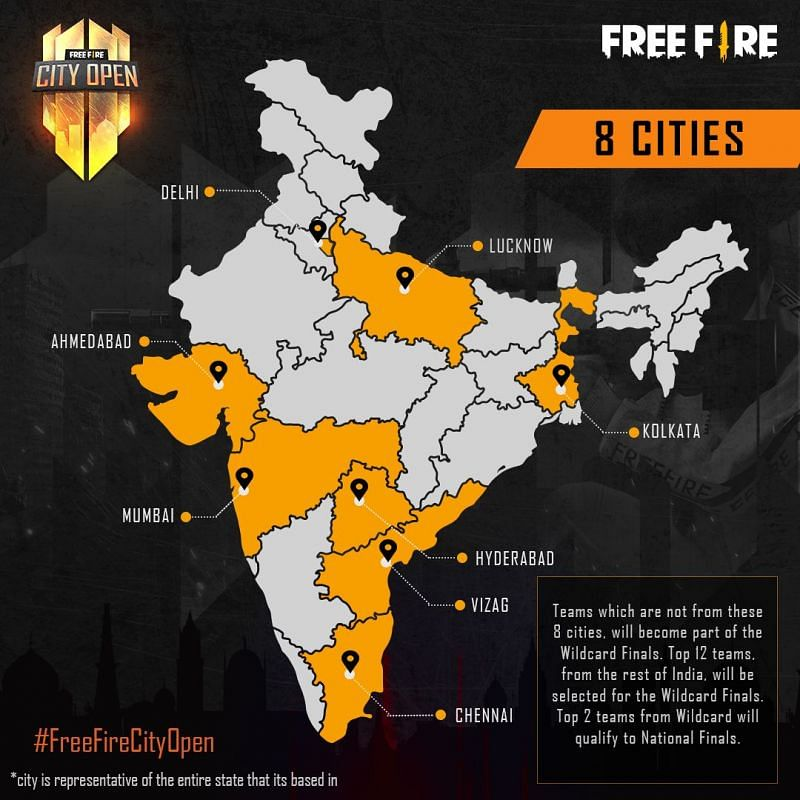 The Free Fire City Open 2021 participating cities