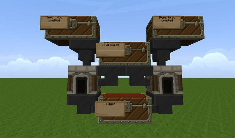 An automatic smelter with a spiffy-looking texture pack in Minecraft (Image via u/b43ndan on Reddit)