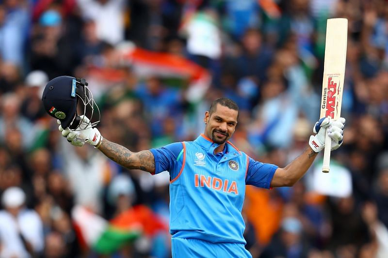 Shikhar Dhawan celebrates his hundred against Sri Lanka in the 2017 Champions Trophy. Pic: Getty Images