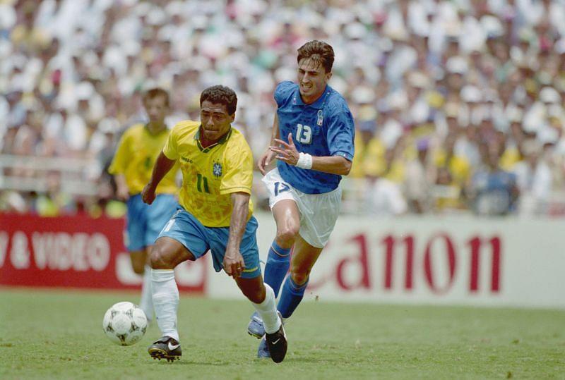 Romario of Brazil and Dino Baggio of Italy