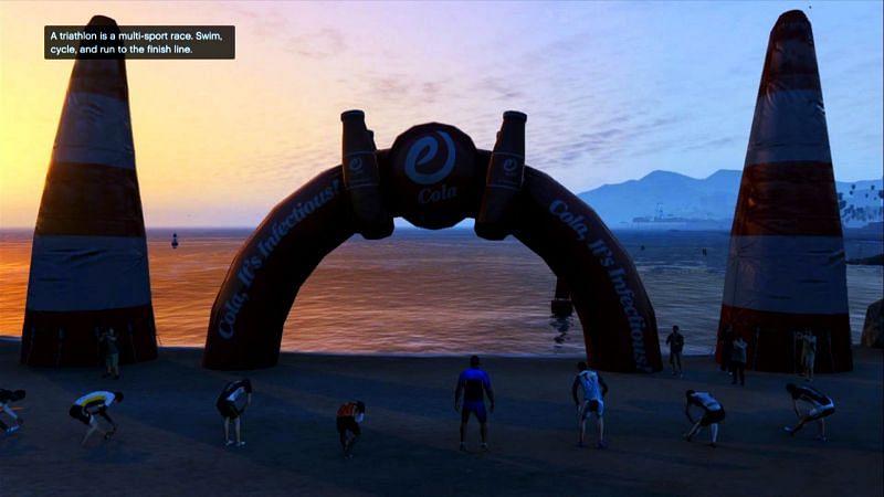 Le Triathlon est assez frustrant pour une mission annexe (Image via IGN)