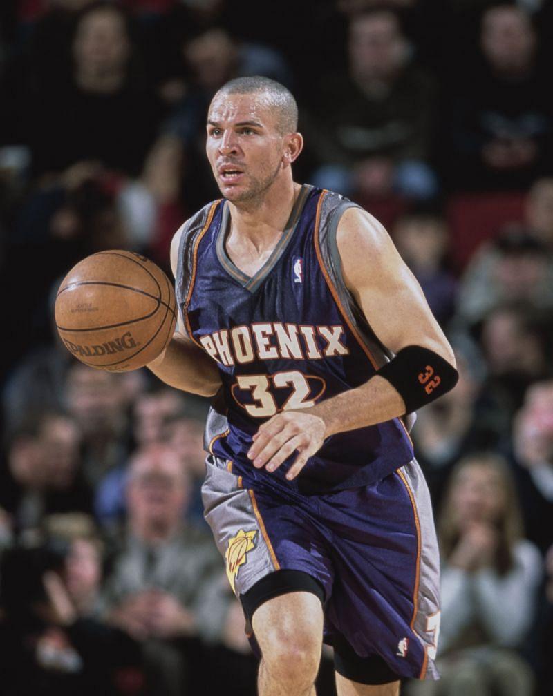 Jason Kidd #32, dribbles the basketball down court during a NBA Playoffs  game.