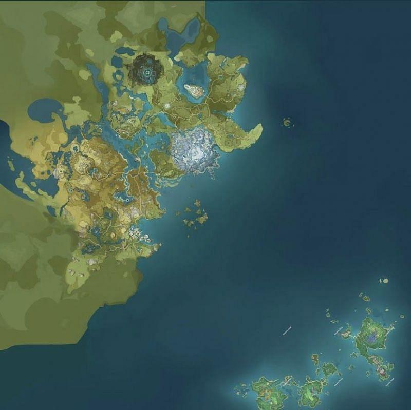 Genshin Impact 2.0 map (image via Genshin Intel)