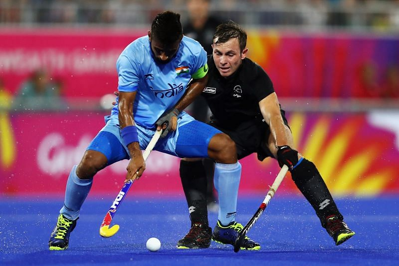 India skipper Manpreet Singh in action at the Commonwealth Games