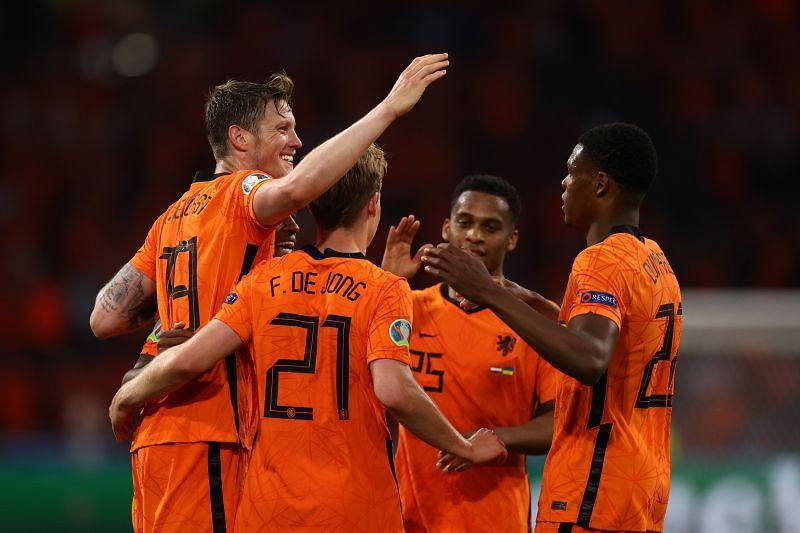 The Netherlands celebrate the winning goal in their Euro 2020 encounter against Ukraine.