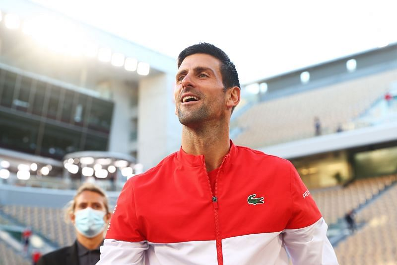 Novak Djokovic at the 2021 French Open