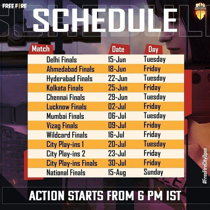Free Fire City Open schedule