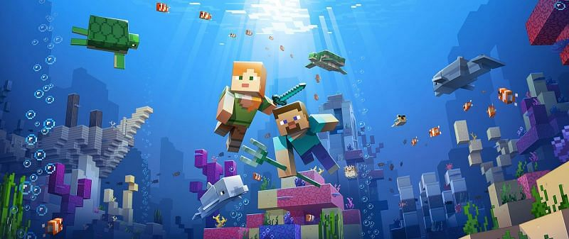 Official artwork for the previously released aquatic update (Image via Mojang)